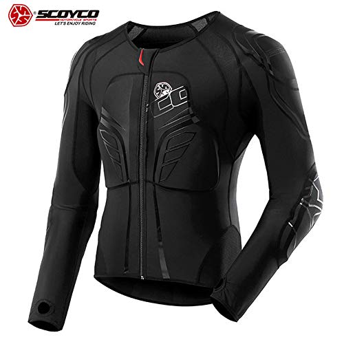SCOYCO Motorbike Racing Body Armor Riding Motorcycle Protective Gear Absorbent Slow Rebound Breathable Motocross Stretch Jacket (X-Large)