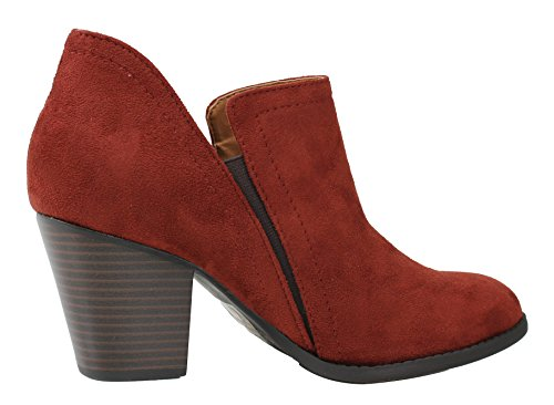 City Classified Block Stacked Chelsea Heel Boot Dark Suede Rust Faux Ankle Women's ZZRwxdAqWr