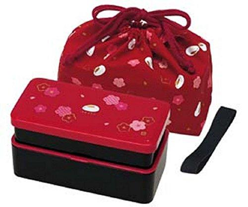 Japanese Traditional Rabbit Blossom Bento Box Set - Square 2 Tier Bento Box, Rice Ball Press, Bento Bag (Red Bento Box)