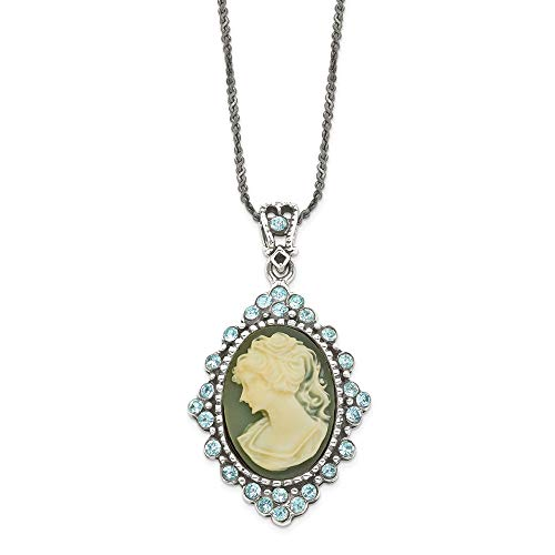 925 Sterling Silver Blue Crystal Cameo Pendant 16 Chain Necklace Inch Charm Fine Jewelry Gifts For Women For Her