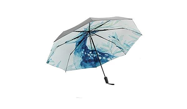 Paraguas de Viaje Plegable Ligero y Sencillo Paraguas a Prueba de Viento Anti-UV Paraguas de Tres Pliegues Fácil de Transportar Manualmente Enciende y ...