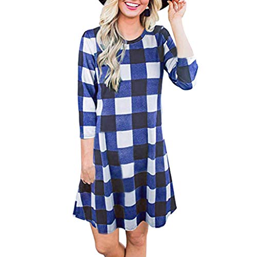 Kauneus  Women's Long Sleeve Plaid Color Block Diamond Casual Swing Loose Fit Tunic Dress Blue ()