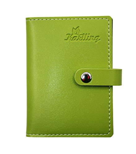 Karlling Slim Minimalist Soft Leather Mini Case Holder Organizer Wallet for 20 Credit Card(Green)