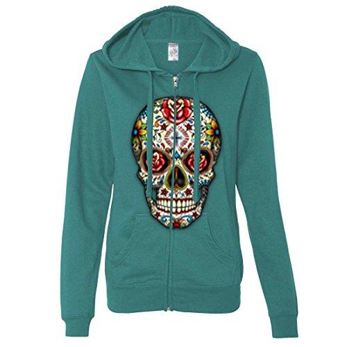 Dia De Los Muertos Sugar Skull Ladies Zip-Up Hoodie - Teal X-Large]()