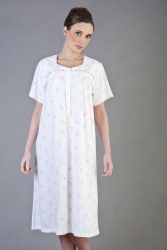 Mujer/Señoras Ropa de Dormir Pijamas De/manga corta algodón Jersey elegante Floral Camisón Transparente, Color Rosa, X Gran/XX Grande