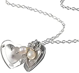 14865a43c572e0 Handmade 925 Sterling Silver Heart Pearl Locket Necklace with Free Gift  Packaging by Otis Jaxon