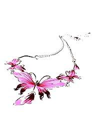 Qiyun Enamel Butterfly Pendant Bib Fringe Y Neck Lariat Necklace Stud Earrings Set e mail Papillon Frange Cou Y Lasso Collier