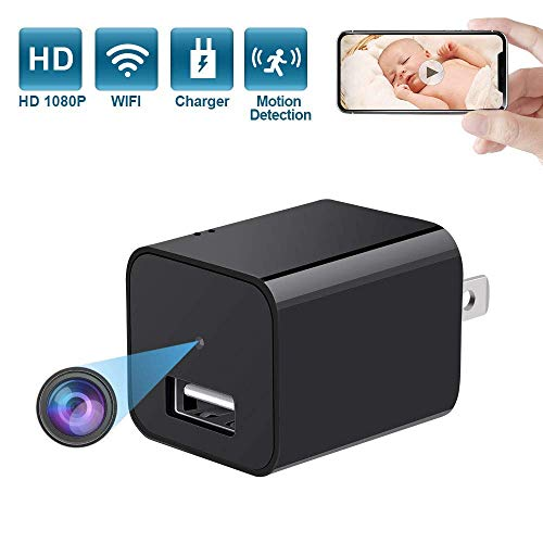 Eslibai Spy Camera,Wireless HD 1080P Mini Hidden Camera Charger in Phone Adapter, USB Wall Charger Camera Nanny Cam with Motion Detection for Cellphone ipad and Indoor Home or Office Security Black