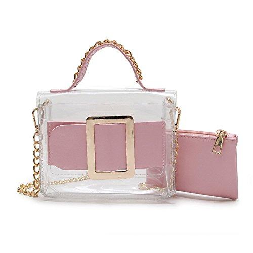 Lady Yamyannie Lock Simple Bag Summer Winter Bag Pink Mother Transparent Tote Retro Shoulder Square Messenger dqgrqRW