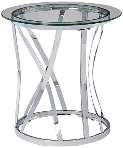 (Simmons Upholstery & Casegoods 7314-47 RND Metal/Glass TBL-Chrome Round End Table)