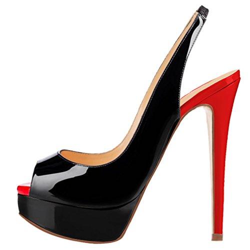 Del Alti Nero Toe Delle Donne Rosso Peep Con Piattaforma Tacchi Partito Pompe Aooar La qZXwpp