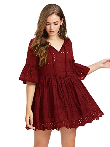 Floerns Women's Bell Sleeve Hollow Out Short Tunic Dress Burgundy (Bell Skirt)