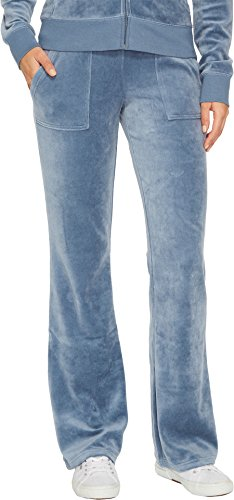 Juicy Couture Women's Del Rey Velour Pants Dusty Navy Small
