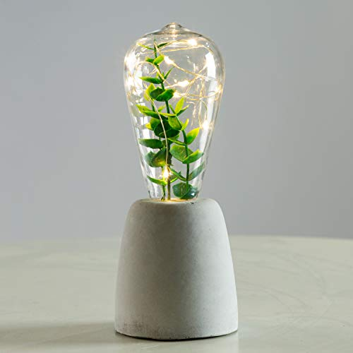 Walsport Table Lamp Edison Bulb with Artificial Plant, Concrete Cement Grey Base Nightstand Bedside Lamp, Industrial Minimal Style for Cafe Shop Home Decor Christmas Birthday Gift