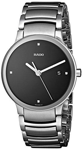 - Rado Men's R30927713 Centrix Jubile Black Dial Watch