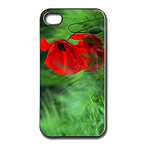 New Red Poppy Case Cover For Apple IPhone 4 4s Customize Funny IPhone 4 Skin