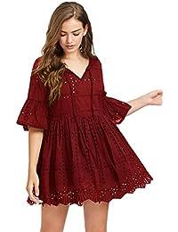 Women's Bell Sleeve Hollow Out Short Tunic Dress