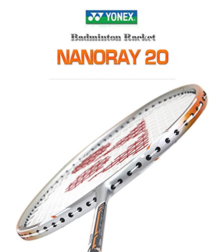 - Yonex NANORAY 20 NEW Badminton Racket 2017 Racquet Silver/Orange 3U/G4 Pre-strung with a Half-length Cover (NR20-Silver/Orange)