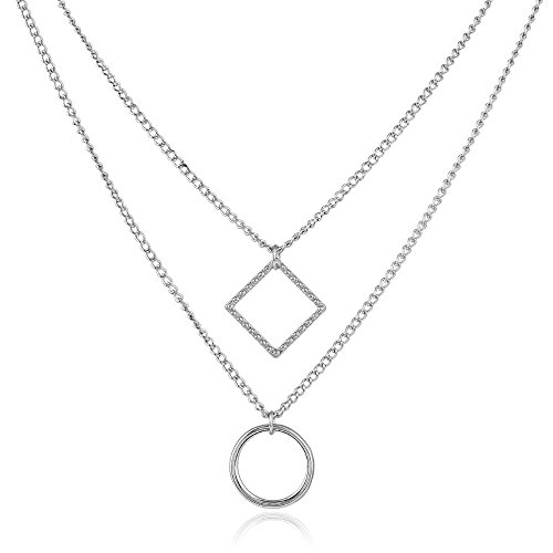 J Meng Geometric Double-Layer Square Circle Necklace - Trendy Women Party Gift ()