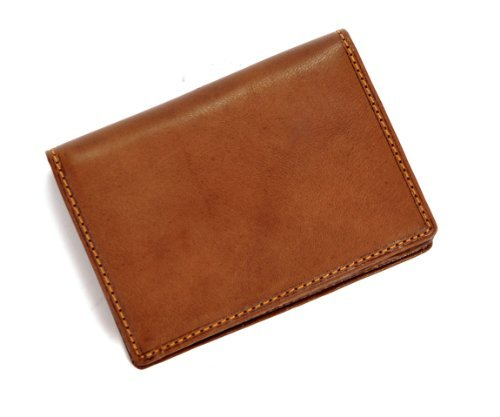 Tony Perotti Italian Cow Leather Front Pocket Business and Credit Card Case Wallet with ID Window, Cognac