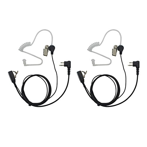 GoodQbuy 2 Pin PTT Mic Covert Acoustic Tube Earpiece Headset for Motorola Two-Way Radio RMM2050 GP300 CP200 PR400 CLS1110 (Pack of 2)