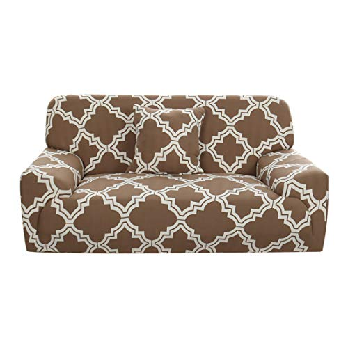 (uxcell Stretch Sofa Couch Cover 4 Seater Polyester Spandex Fabric 1-Piece Sofa Slipcover for Chair Loveseat Sofa Elastic Furniture Protector with One Free Cushion Case #K 92-122 Inch)