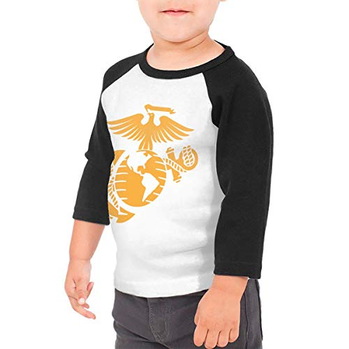 - Unisex Baby Eagle Globe and Anchor Toddler's O Neck Raglan 3/4 Sleeve Baseball T Shirt for 2-6 Boys Girls Black