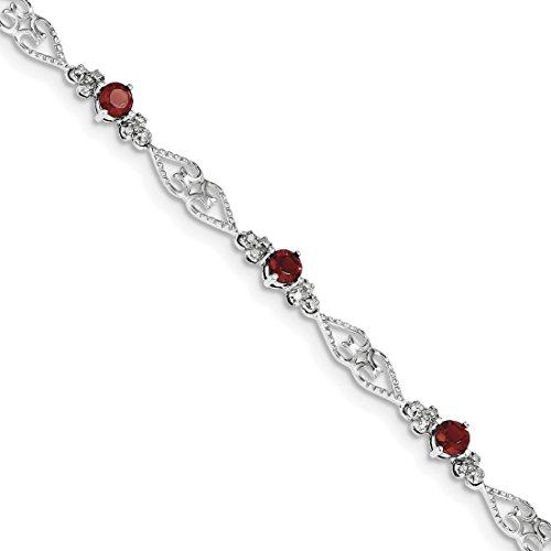ICE CARATS 925 Sterling Silver Diamond Red Garnet Bracelet 7 Inch Gemstone Fine Jewelry Gift Set For Women Heart