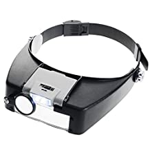 SaveOnMany ® Illuminated Dual LED Lighted Head Magnifier, 4 Lens: 1.5X 3X 8.5X 10X, For Watch Camera Repair Repairing