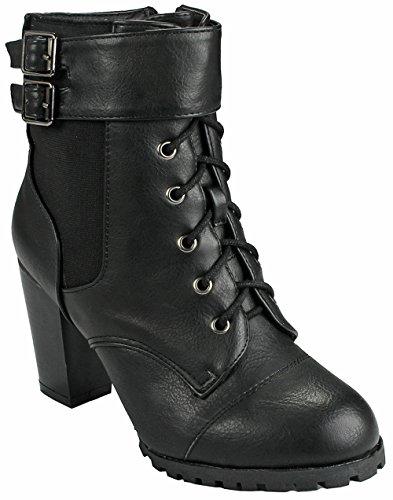 Jjf Skor Kvinnor Manschetten Designen Gyllene Blixtlås Inredning Konstläder Sida Zip Chunky Staplade Häl Boots Black_c25