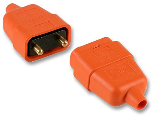 PRO ELEC - 2 Pin In-Line Rubber Connector, 10A Orange