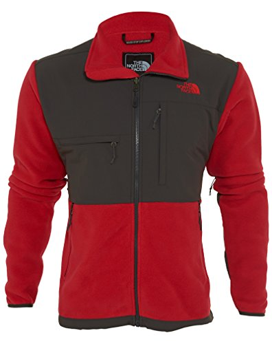 The North Face Men's Full Zip Denali Jacket, Recycled TNF Red/Asphalt Grey, Large