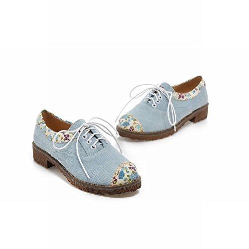 Carol Schoenen Casual Dames Bloemen Patroon Teen Lace-up Comfort Dikke Lage Hak Oxford Schoenen Lichtblauw