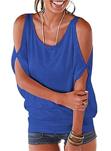 (Women's Cut Out Shirts Ruched Cutout Shoulder Scoop Neck Tops Blouse (M, Blue))