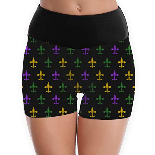 Women's Yoga Hot Shorts Pants 3D Fleur De Lis Mardi Gras Print Slim Fit Shorts Capris White