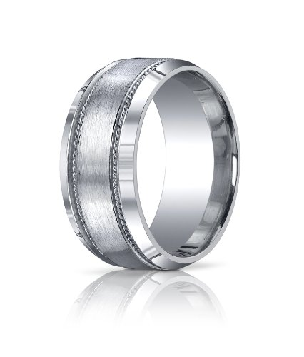 Men's Sterling Silver 10mm Comfort Fit Satin Finished Rope Edge Wedding Band Ring, Size 10.5 ()