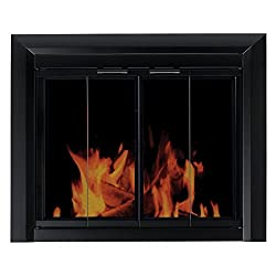 Pleasant Hearth Clairmont Fireplace Screen and Bi-Fold Track-Free Smoked Glass Doors - Black from GHP-Group Inc