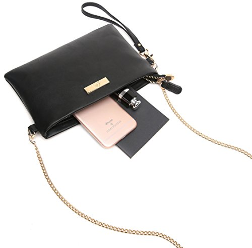 Leather with Chain Phone Crossbody Purse Bag Strap Clutch Cell Aitbags Soft PU Black Wristlet 8nXPw0ET