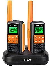 Retevis RT649 Walkie Talkie licentievrije PMR446 radioset 16 kanalen, VOX LED-zaklamp, IP65 waterdicht, scan twee laadmethoden (oranje, 2 stuks)