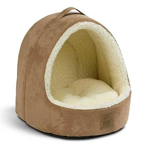 House Of Paws Hooded Tan Suede   Sheepskin Cat Bed