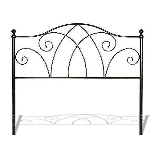 Deland Metal Headboard with Curved Grill Design and Finial Posts, Brown Sparkle Finish, Full by Fashion Bed Group