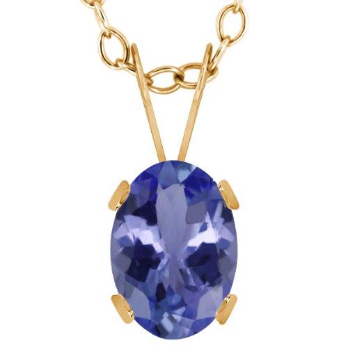 0.75 Ct Oval Blue Tanzanite 14K Yellow Gold Pendant