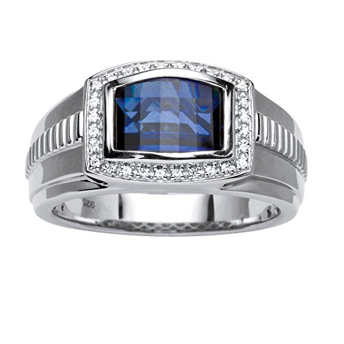 - Men's Platinum over Sterling Silver Created Ceylon Blue and White Sapphire Ring