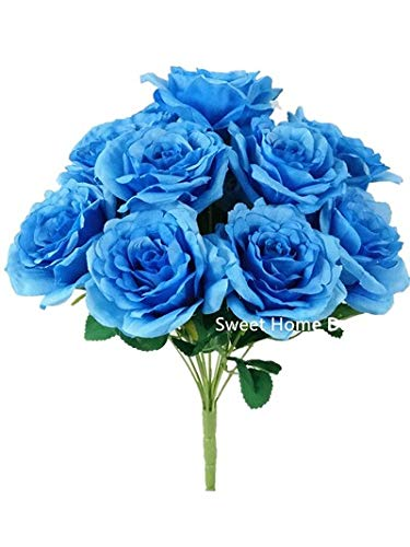 Sweet Home Deco 14'' One Dozen Sweet Roses Silk Artificial Bouquet Blue (12 Stem/12 Flower Heads)(Valentine's Day/Wedding/Home Decorations) (Blue)
