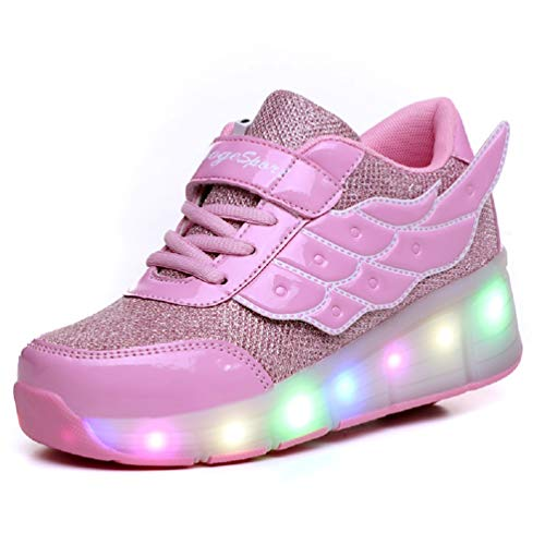 Ufatansy Kids Adults LED Light Up Sneakers Wing Single Wheels Roller Skate Shoes (3 M US=CN34, Pink) ()