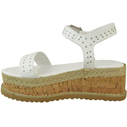 Fashion Thirsty Heelberry® Womens Ladies Black Stud Flatform Sandals Summer High Wedge Espadrilles Shoes White Faux Leather 2vsgLYkmJ