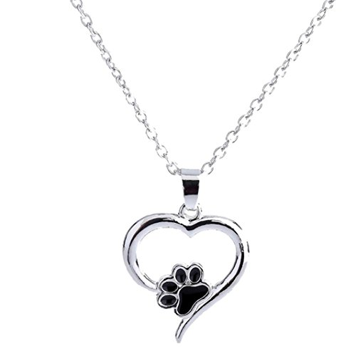 Keliay Necklace For Women Personalized Fashion Jewelry Crystal Rhinestone Dog Paw Best for Gift (White)