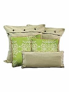 HOME: Suuchi Cushion Cover Set (Green Twirls)