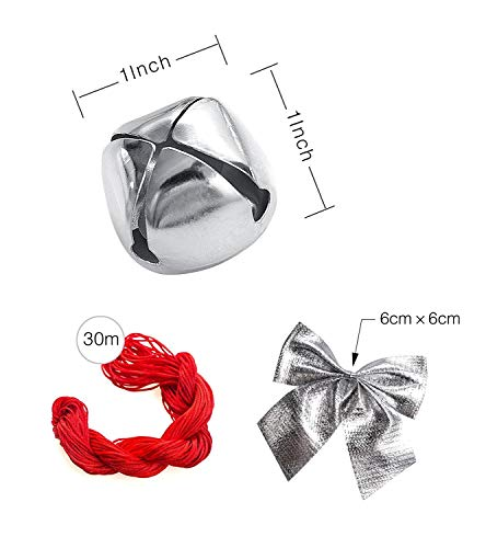 50 Pack 1 Inch Jingle Bells Christmas Silver Jingle Bells For Craft Festival Decoration With 30 Meter Red Cord and 12 Bowknots