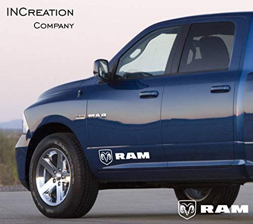 (INCreation Company 2002-2019 Dodge Ram 1500 2500 Front Doors Vinyl Decals Logos, Mirrored Stickers RT, 5.7 L auto Graphics SRT Hellcat, Hemi, Rebel 4x4)